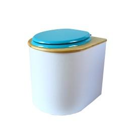 toilette sèche rehaussée PMR arrondie blanche avec couvercle huilé, abattant turquoise, seau inox 22 litres, bavette inox