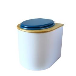 toilette sèche rehaussée PMR arrondie blanche avec couvercle huilé, abattant bleu, seau inox 22 litres, bavette inox