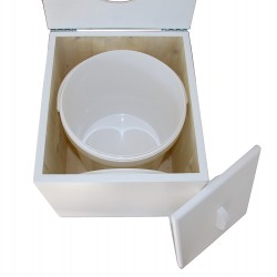 Toilette sèche pas chère en bois blanc avec seau plastique alimentaire 20 litres