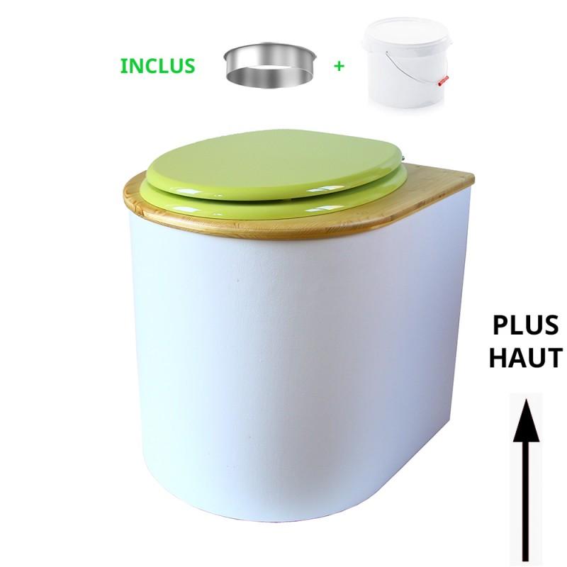 toilette sèche arrondie blanche, couvercle huilé, abattant vert, seau plastique 22L, bavette inox. modèle rehaussé PMR