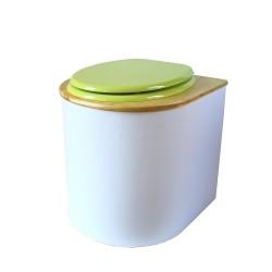 toilette sèche rehaussée PMR arrondie blanche avec couvercle huilé, abattant vert, seau inox 22 litres, bavette inox