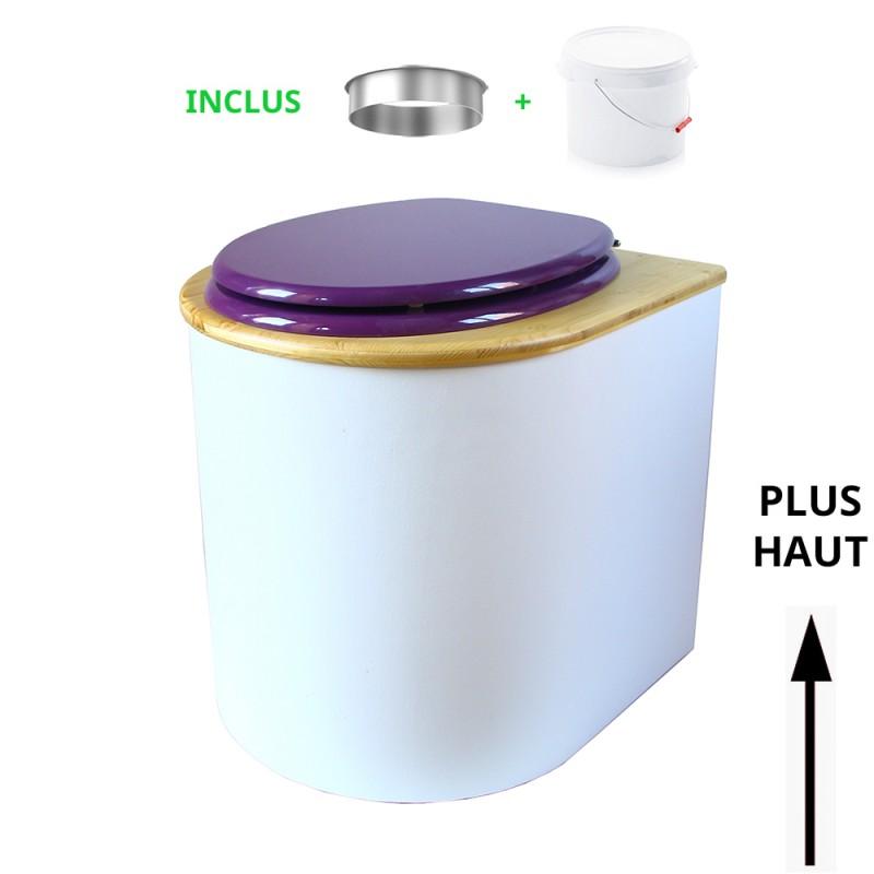 toilette sèche arrondie blanche, couvercle huilé, abattant violet, seau plastique 22L, bavette inox. modèle rehaussé PMR