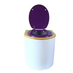 toilette sèche rehaussée PMR arrondie blanche avec couvercle huilé, abattant violet, seau inox 22 litres, bavette inox