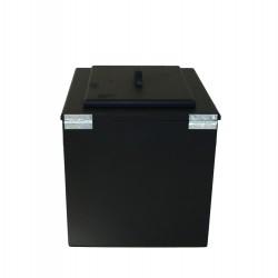 Toilette sèche pas chère en bois noir avec seau plastique alimentaire 20 litres