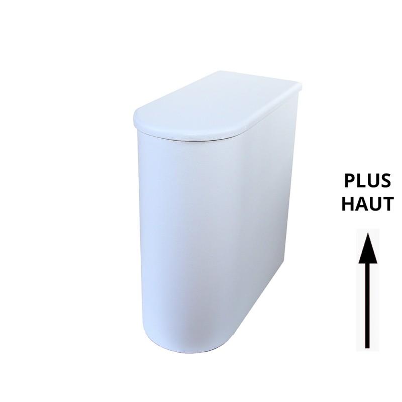 Bac à copeaux de bois rehaussé arrondi avec couvercle pour toilette sèche - modèle spécial demie lune PMR