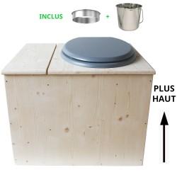 Toilette sèche avec bac à copeaux de bois - La Bac gris inox - modèle rehaussé PMR - hauteur d'assise 50 cm