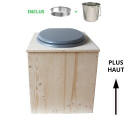 toilette sèche en bois avec seau inox et bavette inox avec abattant bois gris - modèle rehaussé PMR