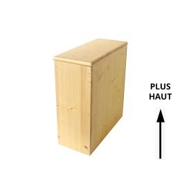 Bac à copeaux, sciure de bois avec couvercle pour toilette sèche - modèle huilé rehaussé