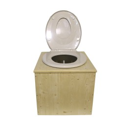 """Toilette sèche  """"2en1"""" , abattant blanc avec réducteur enfant intégré, seau inox et bavette inox"""