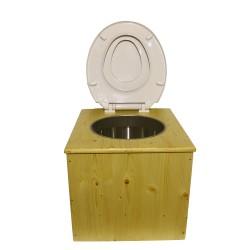 """Toilette sèche """"2en1"""", abattant blanc avec réducteur enfant intégré, seau inox et bavette inox - Modèle Huilé"""