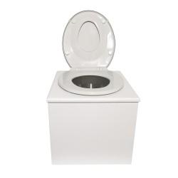 """Toilette sèche """"2en1"""", abattant blanc avec réducteur enfant intégré, seau inox et bavette inox - Modèle peinture blanche"""