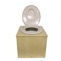 """Toilette sèche  """"2en1"""" , abattant blanc avec réducteur enfant intégré, seau plastique 22 litres et bavette inox"""