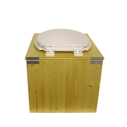 """Toilette sèche """"2en1"""", abattant blanc avec réducteur enfant intégré, seau 22L plastique et bavette inox - Modèle Huilé"""