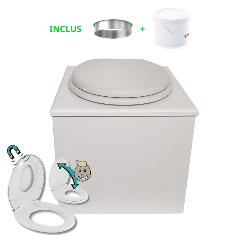 """Toilette sèche """"2en1"""", abattant blanc avec réducteur enfant intégré, seau 22L plastique, bavette inox - Modèle peinture blanche"""