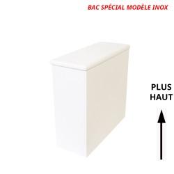 Bac à copeaux de bois avec couvercle pour toilette sèche - modèle blanc spécialement adapté pour la gamme inox rehaussée