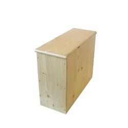 Bac à copeaux de bois avec couvercle pour toilette sèche - modèle huilé spécialement adapté pour la gamme inox