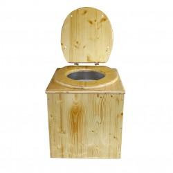toilette sèche en bois huilé. livré complète avec seau et bavette inox
