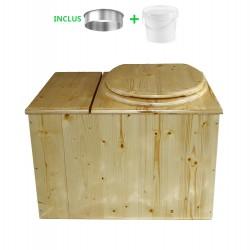 Toilette sèche avec bac à copeaux de bois huilé. Livré complet avec bavette inox et seau 20 litres