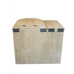Toilette sèche avec bac à copeaux de bois, modèle rehaussé complet avec bavette inox et seau 20 litres