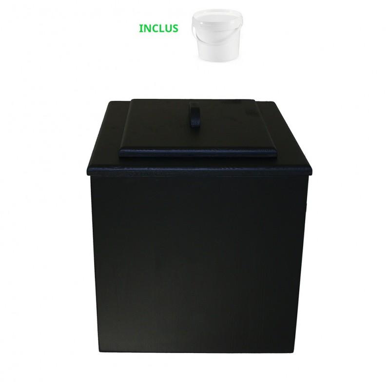 toilette sèche de couleur noir pas chère avec seau plastique 20 litres