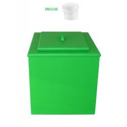 toilette sèche de couleur verte pas chère avec seau plastique 20 litres