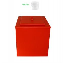 toilette sèche de couleur rouge pas chère avec seau plastique 20 litres