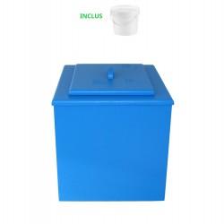 toilette sèche de couleur bleue pas chère avec seau plastique 20 litres