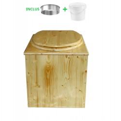 toilette sèche pas cher en bois huilé complète avec seau et bavette inox