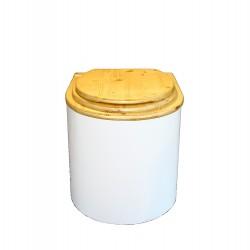 toilette sèche en bois arrondie blanche et huilée complète avec seau 20 litres et bavette inox