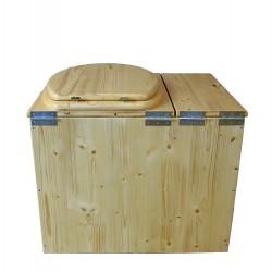 Toilette sèche avec bac à copeaux de bois huilé. Livré complet avec bavette inox et seau 20 litres-modèle rehaussé