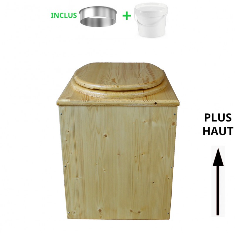 toilette sèche rehaussée en bois huilé complète avec seau 20 litres et bavette inox