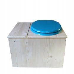 toilette sèche avec bac à copeaux de bois - la bac bleu turquoise