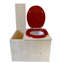 toilette sèche avec bac à copeaux de bois - la bac rouge framboise